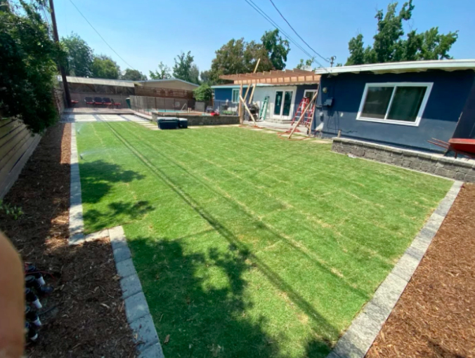 this image shows turf installation in Cupertino, California